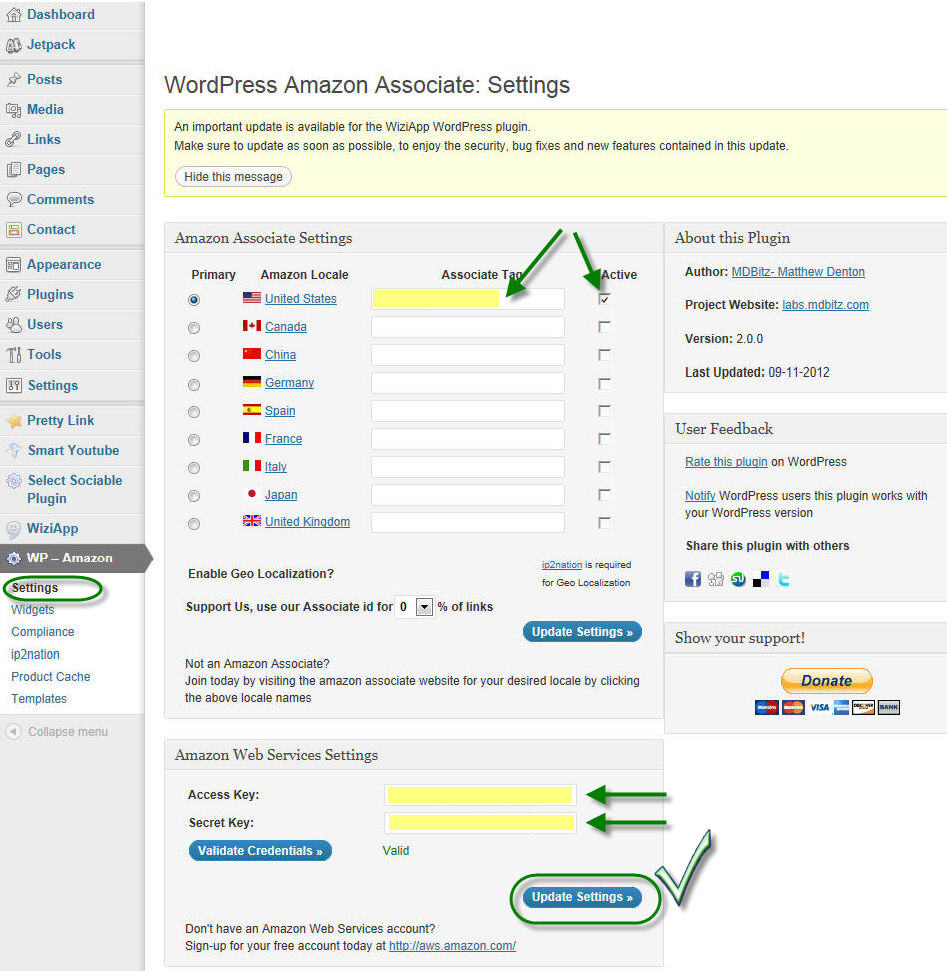 wp-amazon settings