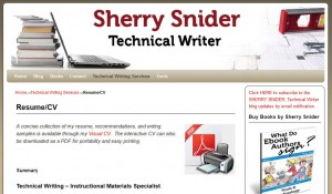 Sherry Snider Resume Page