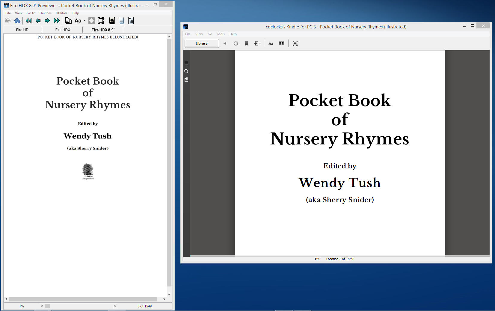 9 See mobi in Kindle Previewer and in Kindle for PC app